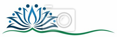 A blue lotus symbol.