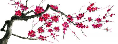 Sticker A branch of a blossoming sakura. Pink and red stylized flowers of plum mei and  wild cherry . Watercolor and ink illustration of tree in style sumi-e, go-hua,  u-sin. Oriental traditional painting. .