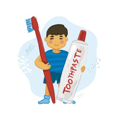 A cheerful boy holds a huge toothbrush and toothpaste in his hands. Banner is about taking care of dental health since childhood. Positive poster for pediatric dentistry clinic. Vector illustration.