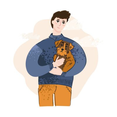 A cheerful young boy holding a brown dog drawn in a flat style against an abstract pink sky. The concept of a banner about homeless animals, volunteer assistance to Pets. Cute vector illustration.