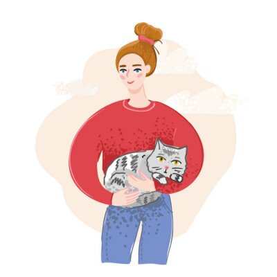 A cheerful young girl holding a gray cat drawn in a flat style against an abstract pink sky. The concept of a banner about homeless animals, volunteer assistance to Pets. Cute vector illustration.