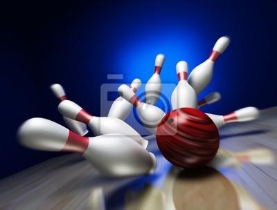 A fun 3d render of a bowling ball crashing into the pins