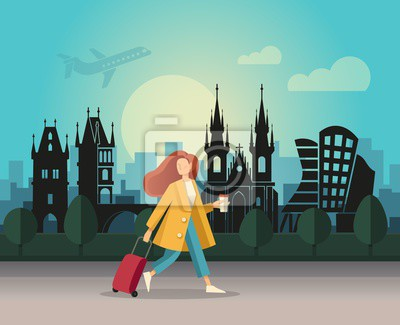 A girl with a suitcase and walking on the background of an abstract landscape of Prague