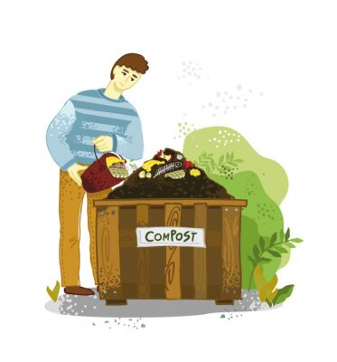 A man with a bucket of food waste pours them into a compost bin on a white background. The theme of zero waste. Concept banner of organic fertilizers, compost, soil, agronomy. Vector illustration.