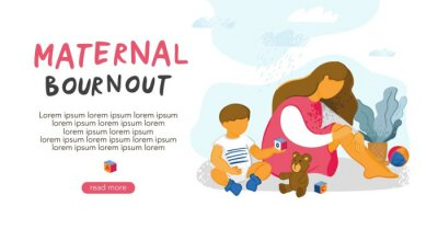 A sad tired young girl sits with her head on her knees next to her small child and children's toys. Landing Page template about maternal burnout, motherhood, stress, depression. Vector illustration.