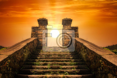 Sticker A stairway  toward to the sun like a portal to the heaven
