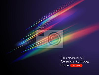 Sticker A transparent light leak camera rainbow streak effect. Vector illustration.