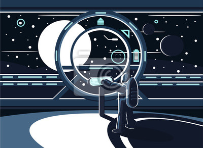A vector illustration of an astronaut or spaceman controlling a space station using a control panel while flying in space. Exploration of the planets
