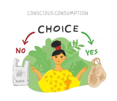 A young girl in a yellow dress shows the correct choice between a plastic bag and a string bag. Concept of conscious consumption, green thinking, zero waste.  Reuse things. Flat vector illustration.