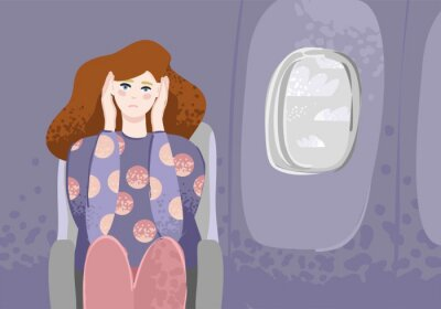 A young girl is sitting in the cabin near the window and holds her head in her hands. Banner concept of fear of flying and planes, aerophobia. Article in the magazine about fears. Vector illustration