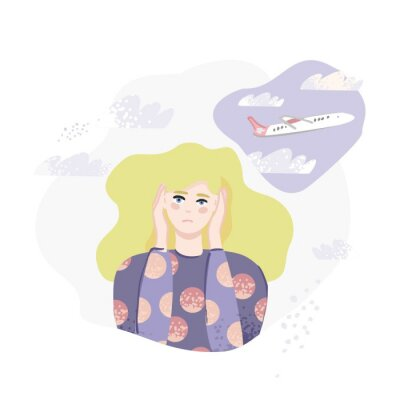 A young girl with blond hair holds her head with her hands on an abstract background with a plane and clouds. Banner concept of fear of flying and planes, aerophobia. Cartoon flat vector illustration.