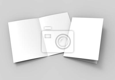 Sticker A3 halb-fach Broschüre leere weiße Vorlage für Mock-up und Präsentation Design. 3d darstellung