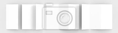 Sticker A4 Blank Trifold Papier Broschüre Mock-up auf weichen grauen Hintergrund mit weichen Schatten und Highlights. 3D illustriert.