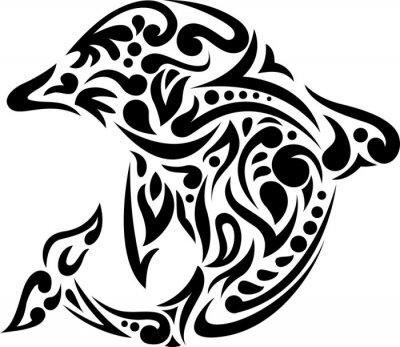 Sticker Abbildung der Delphintätowierungkunst