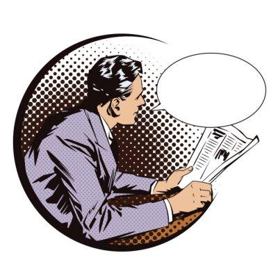 Sticker Abbildung. Menschen im Retro-Stil Pop-Art-und Vintage-Werbung. Männer mit der Zeitung. Sprechblase.