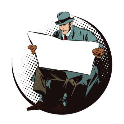 Sticker Abbildung. Menschen im Retro-Stil Pop-Art-und Vintage-Werbung. Sitzender Mann mit Zeitung. Zeitung für Ihren Text.