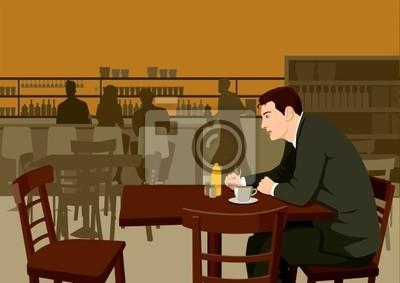 Abbildungbeschreibung eines Mannes wartet im Café