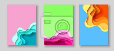 Sticker Abdeckungs- oder Fliegerschablone mit abstraktem Papier schnitt blauen grünen rosa gelben Hintergrund. Vektor-Vorlage in Carving-Art-Stil