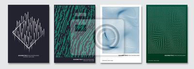 Sticker Abdeckungsschablonen eingestellt, geometrischer abstrakter Hintergrund des Vektors. Flyer, Präsentation, Broschüre, Banner, Poster-Design.