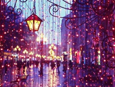 Sticker Abend Avenue mit Lichtern