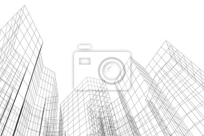 Sticker Abstract architectural background. Linear 3D illustration. Concept sketch