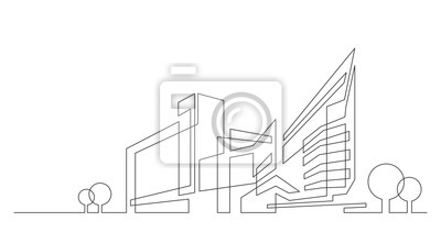 Sticker abstract architecture city skyline with trees - single line vector graphics on white background