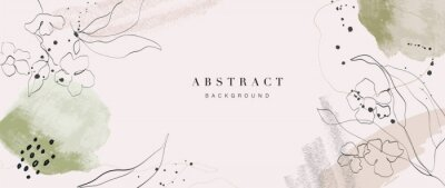 Sticker Abstract art background vector. Luxury minimal style wallpaper with golden line art flower and botanical leaves, Organic shapes, Watercolor. Vector background for banner, poster, Web and packaging.