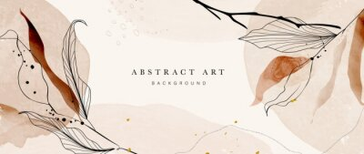 Sticker Abstract art botanical pink background vector. Luxury wallpaper with pink and earth tone watercolor, leaf, flower, tree and gold glitter. Minimal Design for text, packaging, prints, wall decoration.