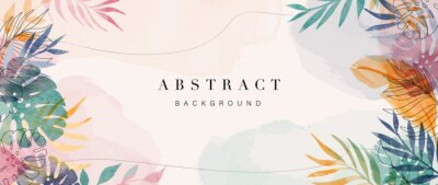 Sticker Abstract art gold tropical leaves background vector. Luxury wallpaper with watercolor, tropical leaf framed, palm leaf, flower,Vivid foliage, exotic green and gold brush glitter.