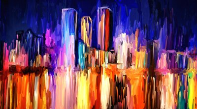 Sticker Abstract artistic painting of skyline