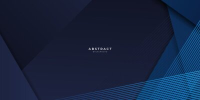 Sticker Abstract blue background geometric dark blue background texture with overlap layers. Abstract polygonal pattern luxury dark blue background
