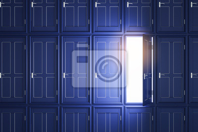 Abstract blue doors to success