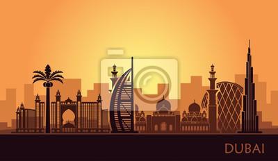 Abstract city skyline with sights of Dubai