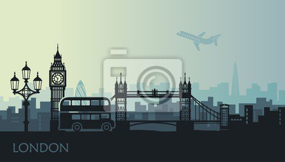 Abstract cityscape of London with the sights at sunset