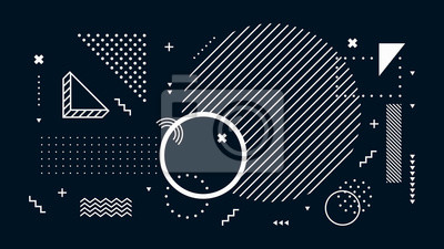 Sticker Abstract dark background. Geometric shapes, black and white minimal memphis. Digital modern tech, futuristic geometrical abstract backdrop or wallpaper vector illustration