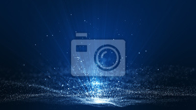 Sticker Abstract dark blue digital background with sparkling blue light particles and areas with deep depths Particles form into lines, surfaces and grids