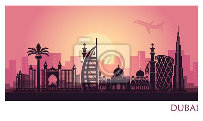 Abstract Dubai city landscape with sunset background