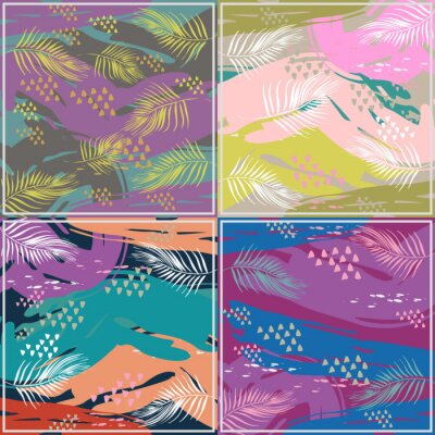Abstract exotic pattern square colorful pastel colors trendy splash ink model with memphis hipster set collections.