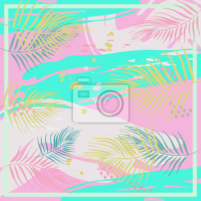 Abstract exotic pattern square colorful pastel colors trendy splash ink model with memphis hipster tropical style for hijab scarf vector textile print