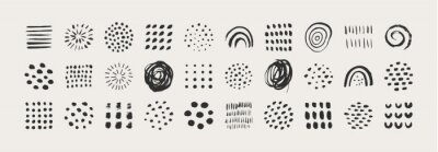 Sticker Abstract Graphic Elements in Minimal Trendy Style. Vector Set of Hand Drawn Texture for creating Patterns, Invitations, Posters, Cards, Social Media Posts and Stories