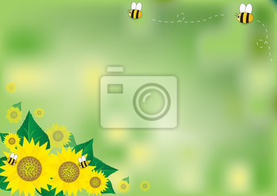 Abstract green background with sunflowers and bee, vector illustration