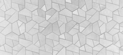 Sticker Abstract grey gray white bright seamless geometric hexagonal hexagon mosaic cement stone concrete tile wall texture background banner