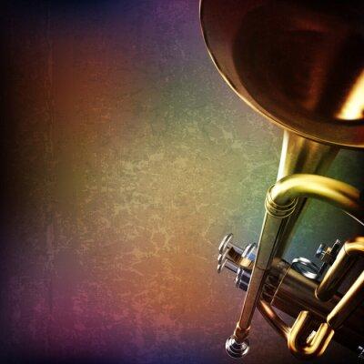 Sticker abstract grunge background with trumpet