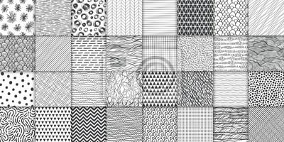 Sticker Abstract hand drawn geometric simple minimalistic seamless patterns set. Polka dot, stripes, waves, random symbols textures. Vector illustration