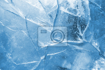 Sticker Abstract ice background. Blue background with cracks on the ice surface