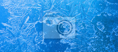 Sticker Abstract ice flowers pattern, frosted window macro view background. cold winter weather xmas backdrop