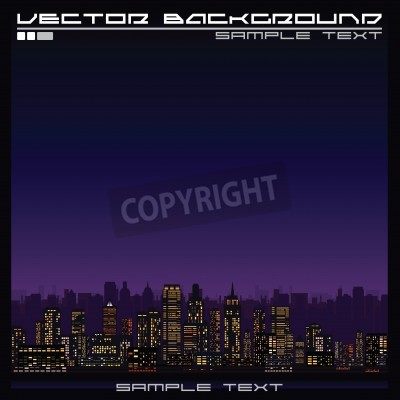 Abstract Illustration of a Skyline at Night. Ready for Your Text and Design.