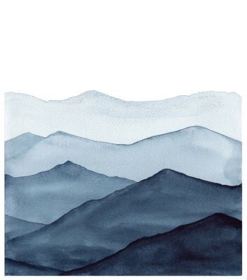 Sticker abstract indigo blue watercolor waves mountains on white background