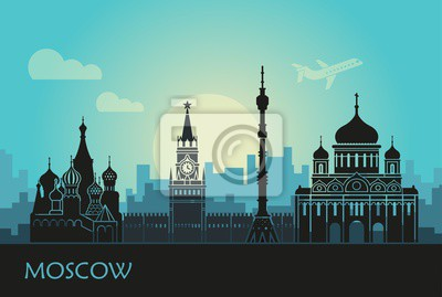 Abstract landscape of Moscow with sights at sunset