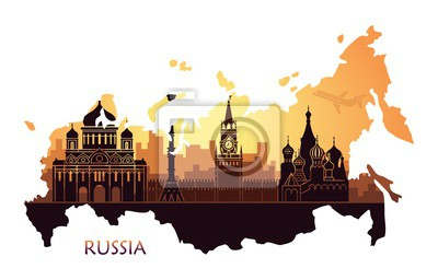 Abstract landscape of Moscow with sights at sunset in the form of a map of Russia